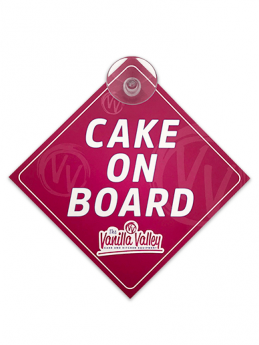 The Vanilla Valley Cake on Board Car Sign - Pink & Blue