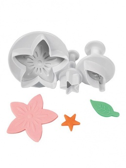 Cake Star Plunger Cutters Set of 3 - Flower, Leaf & Star