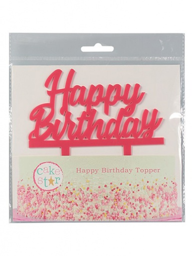 Cake Star Happy Birthday Pink Acrylic Cake Topper