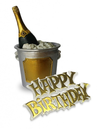 Champagne Ice Bucket & Happy Birthday Motto Cake Topper