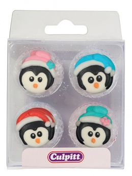 12 Christmas Penguins Sugar Pipings Cupcake Decorations
