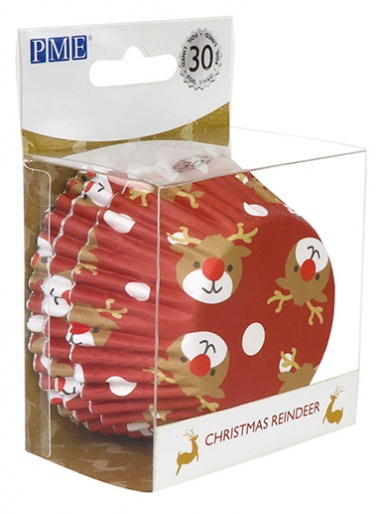 PME Christmas Reindeer Foil Lined Cupcake Cases - Pack of 30