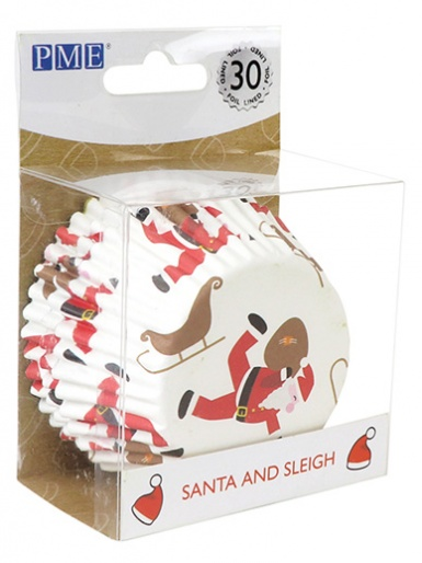 PME Santa and Sleigh Foil Lined Cupcake Cases - Pack of 30