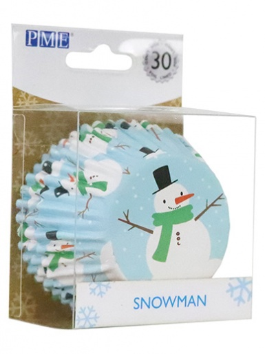 PME Christmas Snowman Foil Lined Cupcake Cases - Pack of 30