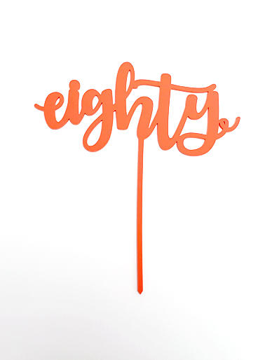 'Eighty' Coral Acrylic Cake Topper
