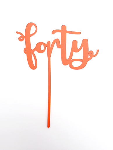 'Forty' Coral Acrylic Cake Topper