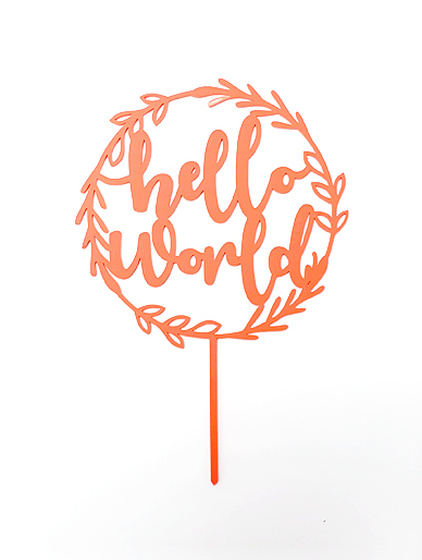 'Hello World' Olive Hoop Coral Acrylic Cake Topper