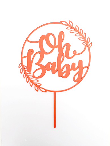 'Oh Baby' Boho Hoop Coral Acrylic Cake Topper
