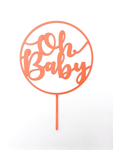 'Oh Baby' Plain Hoop Coral Acrylic Cake Topper