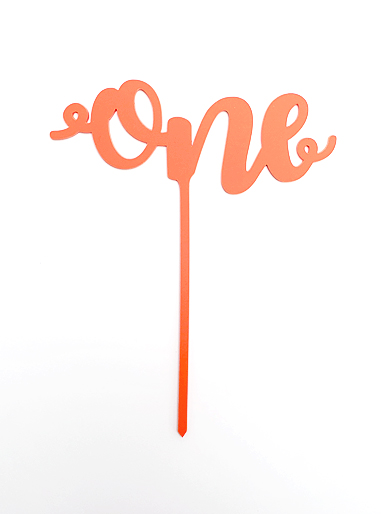 'One' Coral Acrylic Cake Topper