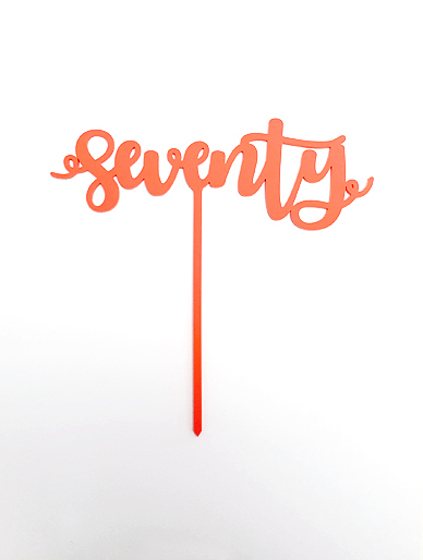 'Seventy' Coral Acrylic Cake Topper