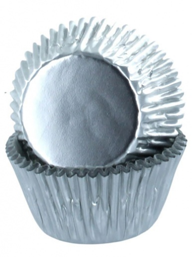Baked With Love - SILVER Foil Cupcake Cases - Pack of 50
