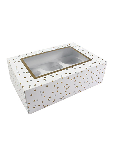 6 or 12 Hole Cupcake Box - Metallic Spots