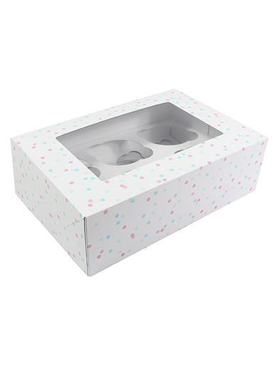 6 or 12 Hole Cupcake Box - Pastel Spots