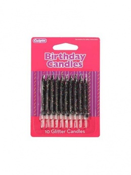 Black Glitter Birthday Candles