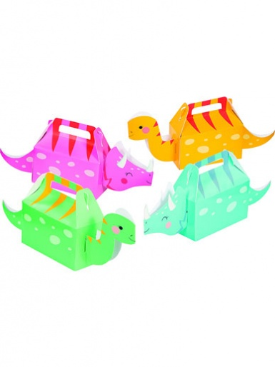 Dinosaur Treat Boxes - Girls, Pack of 4