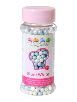 FunCakes Soft Pearls  - Blue/White 60g