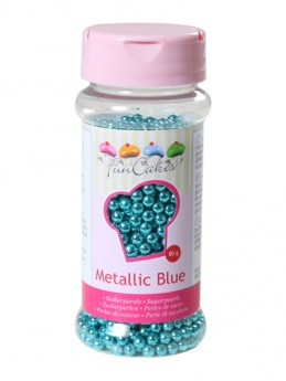 FunCakes Sugar Pearls  - Metallic Blue 4mm 80g