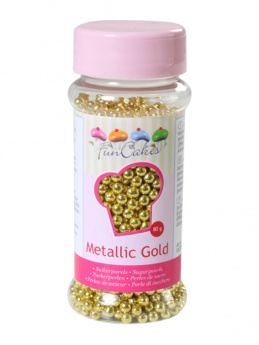 FunCakes Sugar Pearls  - Metallic Gold 4mm 80g