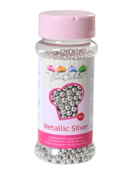 FunCakes Sugar Pearls  - Metallic Silver 4mm 80g