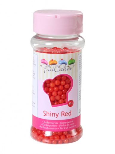 FunCakes Sugar Pearls  - Shiny Red 4mm 80g