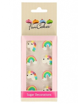 FunCakes Unicorn & Rainbow Sugar Decorations Pack of 8