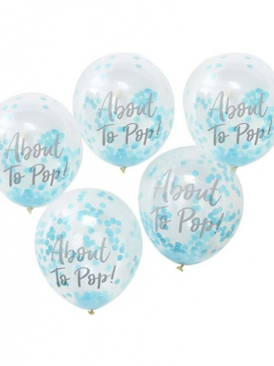 Oh Baby! - About to Pop - Blue Baby Shower Confetti Balloons