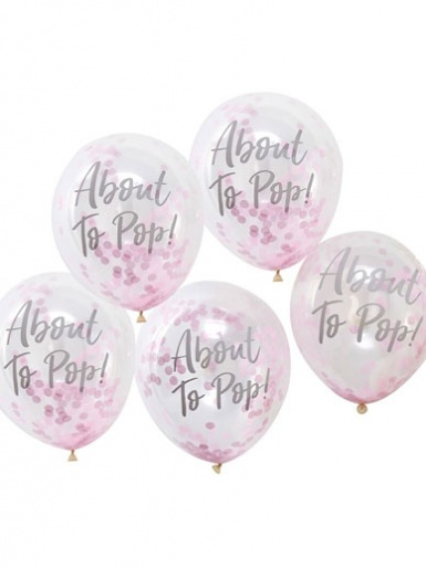 Oh Baby! - About to Pop - Pink Baby Shower Confetti Balloons