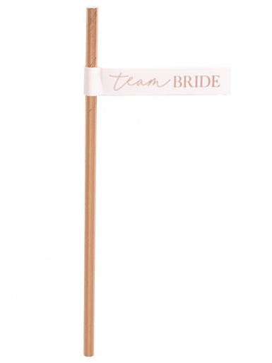 Hen Party - Rose Gold Team Bride Flag Paper Straws