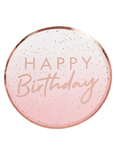 Mix It Up - Happy Birthday Pink Ombre Rose Gold Plate