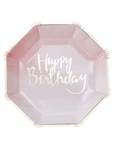 Pick and Mix - Gold Foil & Pink Ombre Happy Birthday Paper Plates