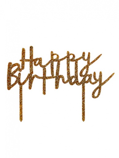'Happy Birthday' Glitter Acrylic Cake Topper - Gold
