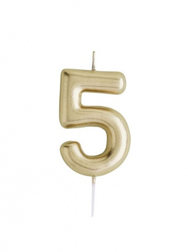 Metallic Gold Number Candle - 5
