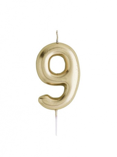 Metallic Gold Number Candle - 9
