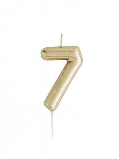 Metallic Gold Number Candle - 7