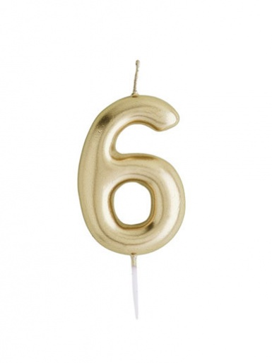 Metallic Gold Number Candle - 6