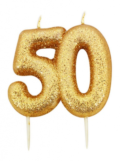 Gold Glitter Numeral Candle - 50