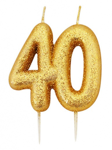 Gold Glitter Numeral Candle - 40