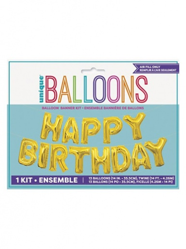 Happy Birthday Balloon Banner Kit - Gold