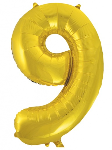 Gold Foil 34'' Balloon - Number 9