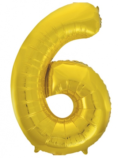 Gold Foil 34'' Balloon - Number 6