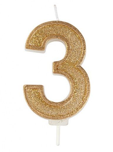 Gold Sparkle Number Candle - 3