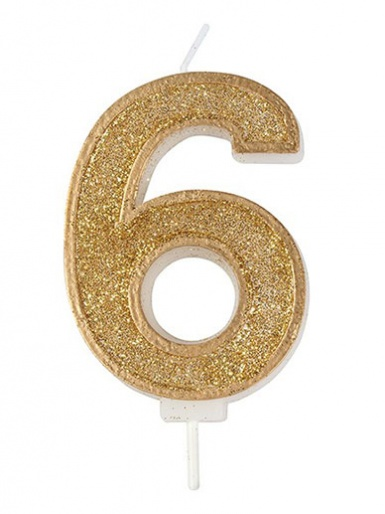 Gold Sparkle Number Candle