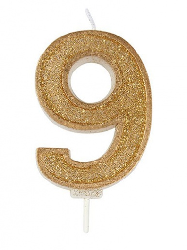 Gold Sparkle Number Candle - 9