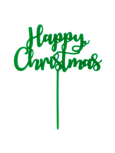 'Happy Christmas' Green Acrylic Cake Topper