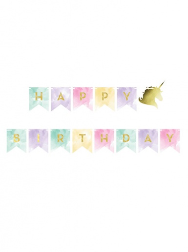 Happy Birthday Banner - Unicorn