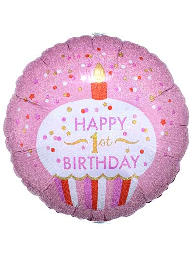 Helium Filled - Happy 1st Birthday - Pink Cupcake Balloon - 18'' Foil