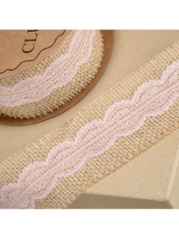 Natural Hessian Ribbon with Rose Pink Lace 50mm x 5m