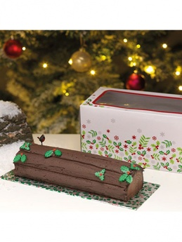 Christmas Holly Log Box & Cake Card Combo 12''