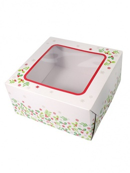 Christmas Holly Square Cake Box - 8''